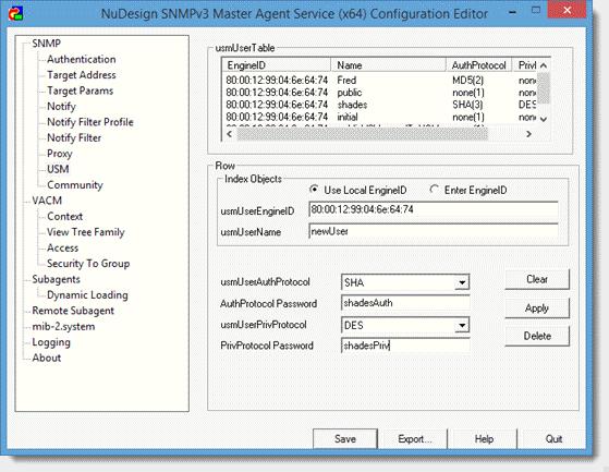 Windows NuDesign SNMPv3 Agent Service |